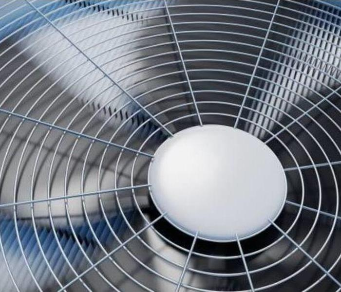 Close up of the blades in an air conditioning unit.