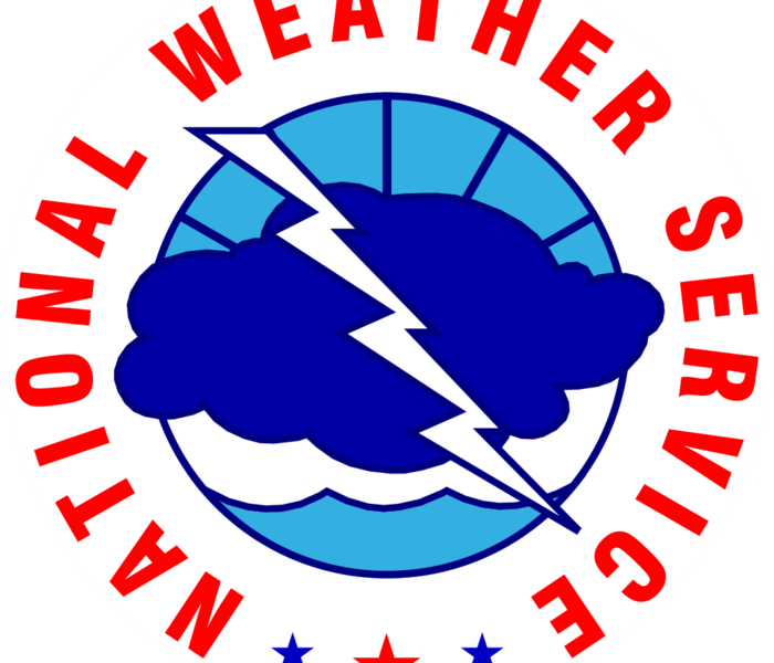 "Blue cloud with a white lightning bolt superimposed on it. Red text says ""National Weather Service"" in a circle around it."